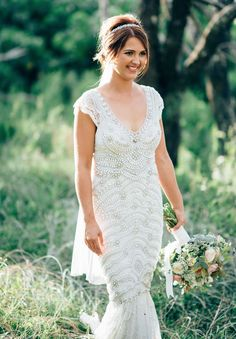 Anna Campbell Bridal #RealBride wearing the Coco Embellished Wedding Dress and Blossom Headpiece from the Spirit Collection #beadedweddingdress #weddinggown #vintageinspireddress #vneckweddingdress