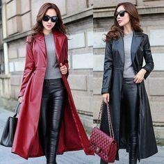 Formal Women'S Long Trench Coat Faux Leather Slim Jacket Windbreaker Outerwear