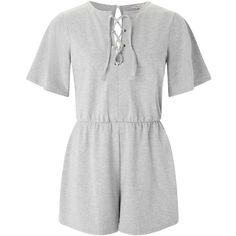 Miss Selfridge Grey Lace Up Eyelet Playsuit ($29) ❤ liked on Polyvore featuring jumpsuits, rompers, grey marl, miss selfridge, lace up romper, playsuit romper, gray romper and grey romper