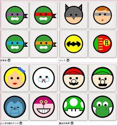 O artista Andy Awesome , faz um trabalho muito divertido!  Com influências da Pop Arte e um pouco de minimalismo, ele resume cada personagem em uma bolinha!  Muito fofo.  Confira todos: http://www.andyawesome.com/?page_id=91