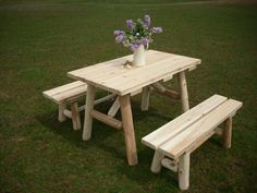 White cedar log traditional picnic table with separate benches - cute 4' length is great for a small gathering on the lawn, patio, or by the garden.  Amish made in the USA