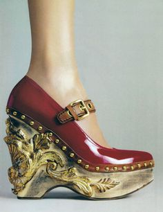 These would be worth having if only because my wardrobe contains no other architectural ornamentation. (Miu Miu)