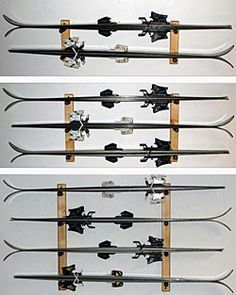 Install a ski wall mount for easy and convenient ski equipment storage! Shop our wide variety of sporting equipment storage rack options now at CozyWinters. Garage Organization, Garage Storage, Sports Storage, Garage Solutions, Ski Rack, Ski Decor, Garage Makeover, Garage Shop, Snow Skiing