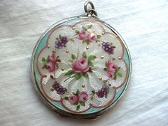Lovely Vintage Guilloche and Roses Locket with Shamrock Four Leaf Clover