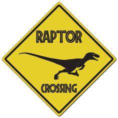 Dark Spark Decals Raptor Crossing Sign - Diamond Aluminum Caution Sign - Made in The USA Birthday Party At Park, Dinosaur Birthday Party, Birthday Party Themes, Third Birthday, Jurassic World, Smiling Pitbull, Dinosaur Crafts Kids, Jurassic Park Party, Legos