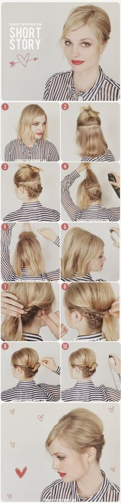 Making a braid- bun updo....That's not exactly up.. It's very nice though.