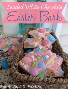 Easter Bark loaded with Reese's eggs, milk chocolate m&ms and Robins egg on MyRecipeMagic.com