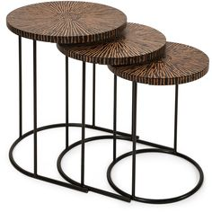 Mahina Nesting Table Set of 3 (1.775 BRL) ❤ liked on Polyvore featuring home, furniture, tables, accent tables, modern black table, modern home furniture, modern accent tables, black modern furniture and modern furniture