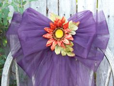 Eggplant Pew Bows Fall Wedding Purple Wedding Decor by OneFunDay, $15.00