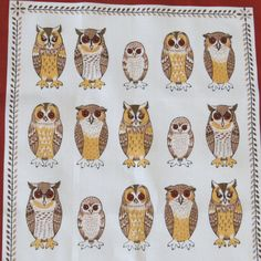 Vintage OWLS ARRIVED Linen Tea Towel Dish Towel by Ulster Weavers - 25 Owls -  What a HOOT Owl Collectible Kitchen Decor Gift Idea on Etsy, $24.91 AUD