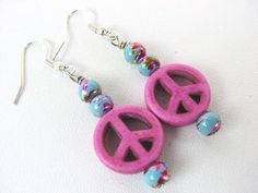 Peace Sign Jewelry Pink Beaded Earrings Nickle by BitsOffTheBeach, $12.00