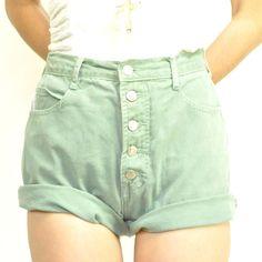 High-Waisted Sage Jean Shorts!