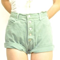 high waisted button up shorts