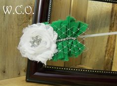 the PATTY Vintage Inspired  Fabric Ruffle and Shabby Chiffon Flower Headband or Hair Clip with Rhinestones and Veiling St. Patrick's Day