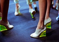 Milan, Spring/Summer 2012 Backstage at Emporio Armani Fashion Art, Spring Fashion, Fashion Shoes, Fashion Accessories, Style Fashion, Neon High Heels, Sock Shoes, Shoe Boots, Posh Beckham