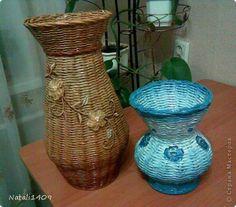 Поделка изделие Плетение Мои вазочки Бумага журнальная фото 1