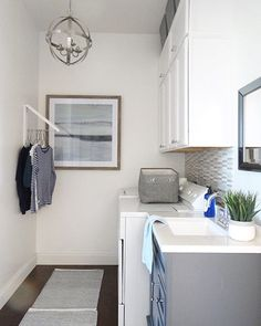 Just in case you didn't get a chance to pop over to @homedepot and see my laundry makeover reveal--Here it is!  Can't tell you how much happier this space makes me now! (Link to post in profile). #laundryroom #coastaldecor #homeinspo #homemakeover #homedesign #decoratingideas #lookforless #bhg #blue #homegoods #interiordesign #functional #beautiful #home