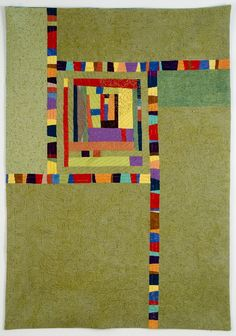 """Intuition by Cindy Grisdela 43"""" x 30"""" Improvisational log cabin central block, surrounded by multicolored wonky stripes . SOLD"""