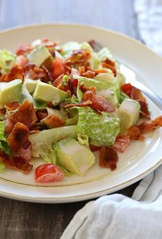 I LOVE bacon – who doesn't? And I love a BLT sandwich. This salad, featured in The Skinnytaste Cookbook has all the flavors I love in the sandwich without the extra calories you get from eating it on bread! Plus it's easy – only FIVE ingredients not counting s + p!              BLT Salad with Avocado www.Skinnytaste.com Servings: 4 • Size: 2 generous cups • Pts+: 5 • Smart Points: 5 Calories: 197 • Fat: 13 g • Carb: 13 g • Fiber: 5 g • Protein: 10 g • Sugar: 5 g Sodium: 397 mg • Cholest: 19...