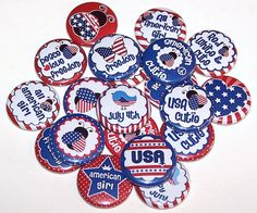 """USA Cutie 4th of July Party Favors Set of 10 Buttons 1"""" Pins or Magnets American Red White Blue 4th of July Pins by DistinctDesignsUnltd on Etsy https://www.etsy.com/listing/154860266/usa-cutie-4th-of-july-party-favors-set"""