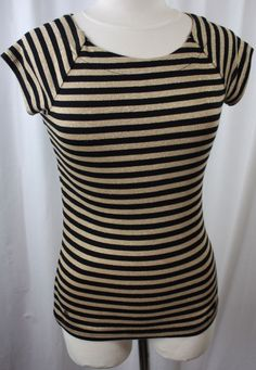 Ralph Lauren Black Gold Metallic Striped Cap Sleeve Stretch Top Size Small #RalphLauren #KnitTop #Versatile