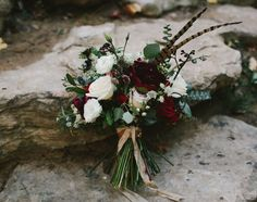 deep red and white bouquet
