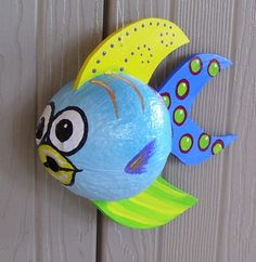 Coconut Fish Tropical Fish Hand Painted and Hand Crafted Baby Blue Palm Seed Pod on Etsy, $35.00