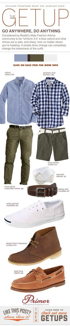 great shirts, pants, belts shoes (except white)