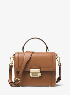 60af603bd88a Jayne Small Pebbled Leather Trunk Bag - Brown - Michael Kors Shoulder bags