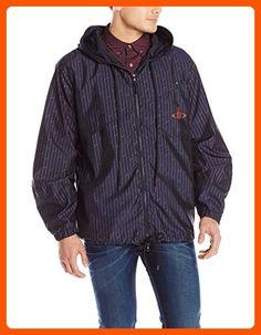 6595705112049 Vivienne Westwood Men s Linear Print Nylon Zip Through K-Way Jacket With  hoodie Zip up