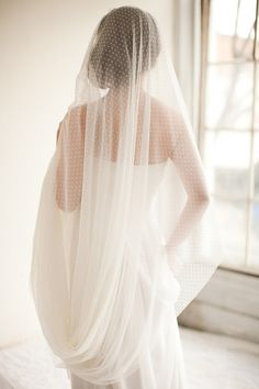 Dotted Point d Esprit Cathedral Veil, Bridal Veil, Swiss Dot Veil - Sophia via Etsy.