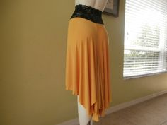 Tango Argentino & Salsa asymmetric Skirt corn yellow Size 0 to 20 with high Waist stretchy Lace  Dancewear Gothic Burlesque.  $38.99
