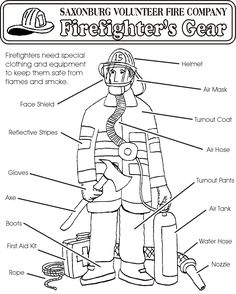 Firefighter Coloring Page Firefighter Worksheets and Fire safety