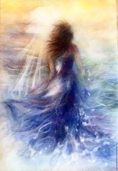 Люди, ручной работы. Ярмарка Мастеров - ручная работа. Купить Картина из шерти Бегущая по волнам резерв. Handmade. Синий
