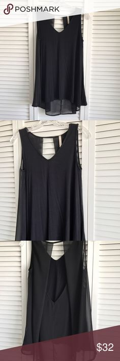 PRICE DROP‼️NEW Chiffon Back Sleeveless Top Temporary price drop, was $25.  No other discounts unless bundled.  Brand new, never worn.  No tags.  Size small.  The front has a soft cotton feel and the back is see through.  You can wear it with a cute bralette or with a camisole underneath.  Bought from a boutique I used to work at but never got around to wearing.  Please ask all questions before making a purchase.💕 Sole Mio Tops Blouses