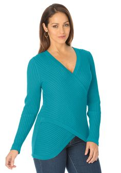 Plus Size Sweater with Crisscross Front