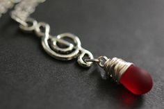 Musical Note Necklace. Treble Clef Necklace. Frosted Red Teardrop Necklace. Music Necklace in Silver. Handmade Jewelry. by TheTeardropShop from The Teardrop Shop. Find it now at http://ift.tt/1k4iOHS!