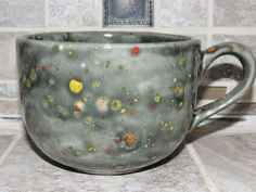 Coffee Mug. Large cappuccino Mug. Unique Gray Green speckled glaze. Food and dishwasher safe. Great Mothers day gift. by GabiLuBoutique on Etsy