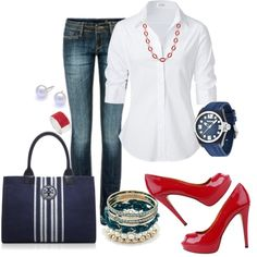 """Casual Blue"" by ccroquer on Polyvore"