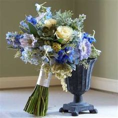 Here are some inspiration photos for my wedding bouquet. I am going to be incorporating a lot of different things into one bouquet- hydran. Hydrangea Bouquet Wedding, Summer Wedding Bouquets, Blue Wedding Flowers, Blue Bouquet, Floral Wedding, Blue Flowers, Flower Boquet, Summer Weddings, Gardens