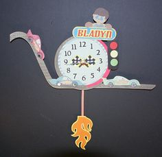 Race Car Pendulum Wall Clock by 1MakingFaces on Etsy, $100.00