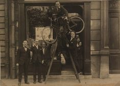 Sans-Pareil, 1920.  From left to right: René Hilsum, Benjamin Péret, Charchoune, Philippe Soupault, Jacques Rigaut (upside down), André Breton......Max Ernst 1920