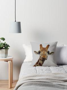 'Giraffe Gaze' Throw Pillow by Moonshine Paradise #redbubble #giraffe #animals #decor #homedecor