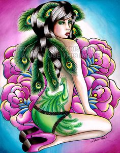 Pin Up Girl with Peacock Tattoo