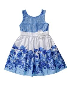 Another great find on #zulily! Emily West Blue & White Floral Dress - Girls by Emily West #zulilyfinds