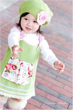Custom corduroy baby toddler jumper dress - Tendresse - French European children's boutique clothes