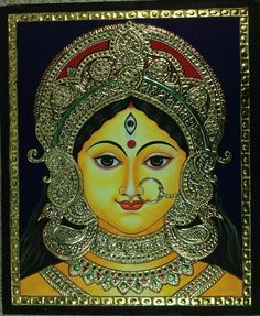 Tanjore Durga Painting. This unique Tanjore painting will make a wonderful addition to any family home, whether simply for the art or as a homage to one of Hinduism's most beloved goddesses.