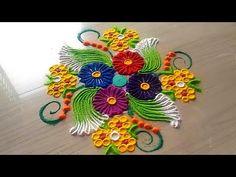 How to make easy and simple/unique border rangoli designs by Jyoti Rathod,rangoli,festival rangoli d Best Rangoli Design, Simple Rangoli Designs Images, Rangoli Designs Latest, Free Hand Rangoli Design, Latest Rangoli, Colorful Rangoli Designs, Rangoli Designs Diwali, Kolam Rangoli, Flower Rangoli