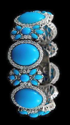 Turquoise, Diamond and White Gold Bracelet Diamond Bracelets, Jewelry Bracelets, Ankle Bracelets, Bangles, Turquoise Jewelry, Turquoise Bracelet, Antique Jewelry, Vintage Jewelry, Pierre Turquoise
