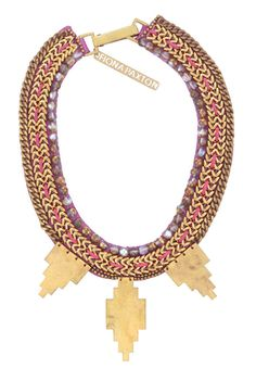 Gloria gold aztec necklace by Fiona Paxton